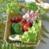 Fantasia di verdura e frutta crude servita in una vaschetta in legno
