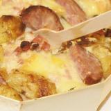 Sformato di patate e formaggio nella sua vaschetta in legno
